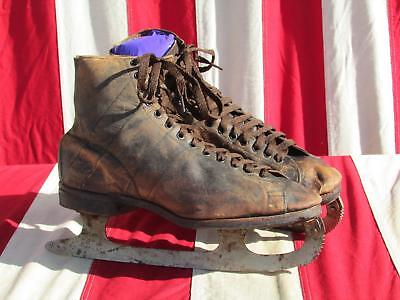 "Vintage Antique Samuel Winslow Ice Skates Brown Leather 10.5"" Boot Length Rare"