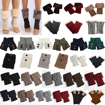 Women Knitted Trim Leg Warmers Winter Warm Crochet Knit Boot Socks Cuffs Topper