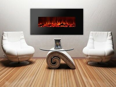 Cosy Wall Recessed Mount Electric Fireplace with Logs 50in. Black 1500W 5400BTU