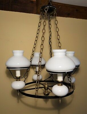 Vintage Antique Hanging 4 Light Lamp Ceiling Fixture Chandelier Milk Glass Globe