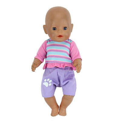 Purple grid  Doll Clothes Wearfor 43cm Baby Born zapf (only sell clothes)