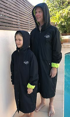 Swim Parka Wazsup Black with Lime Size L  (Pool deck coat, swim jacket)