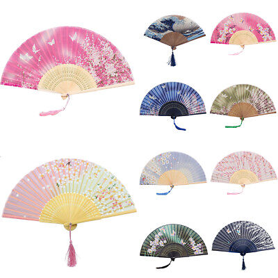 KE_ Girls Women Butterfly Sakura Flower Pattern Bamboo Handheld Folding Fan No