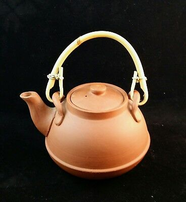 caly teapot oriental teapot bamboo handle VTG style ,6in. wide, 6.5in. high