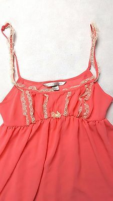 NEW Victoria's Secret Women's Intimate Camisole Babydoll Lace Pink Cream Size S