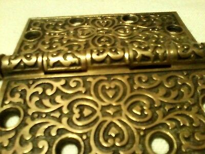 """Antique Ornate Hinge Branford Lock Co. Cast Bronze Solid Brass 4"""" Collectible"""
