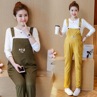Pregnancy Womens Maternity Over Cotton Overalls Suspender Bib Pants Trouser Tops