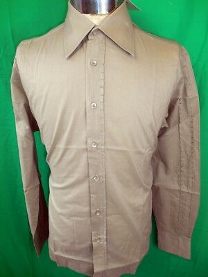 Vintage Coffee Cotton Phillips Melbourne Dress Shirt New/Old Stock Never Worn M