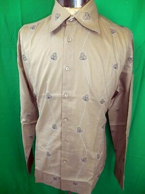 Vintage Embroidered Coffee Cotton Phillips Melbourne Dress Shirt New/Old Stock M