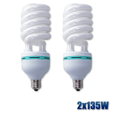 2x135W Energy Saving Photo Light Bulb E27 5500K Photography Studio Daylight Lamp