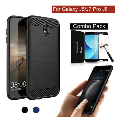 Hybrid Brushed Carbon Fiber Silicon Cover Case for Samsung Galaxy J5/J7 Pro 2017
