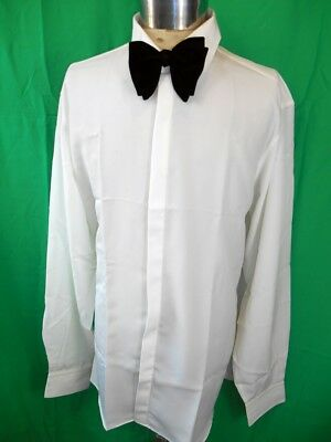Vintage 80s White Polyester Phillips of Melbourne Formal Evening Dress Shirt XL