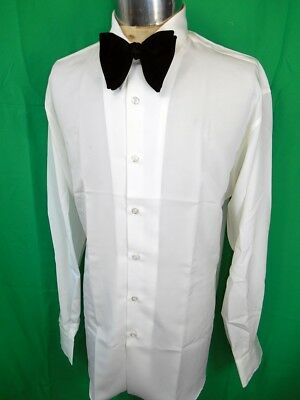 Vintage 1980s White Polyester Phillips of Melbourne Formal Evening Dress Shirt L