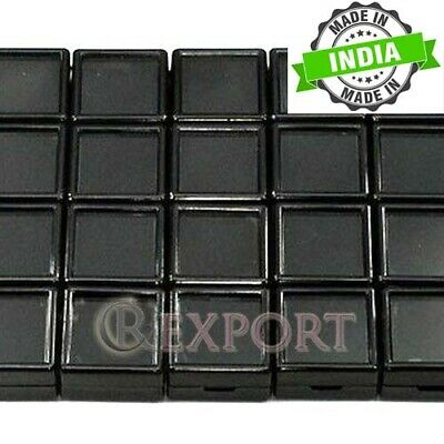 3X3X1.5Cm 24Pcs Square Black Glass Top Plastic Box Gemstone & Jewelry Box