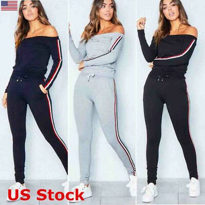2Pcs Women Off Shoulder Long Sleeve Tracksuit Pants Sports Set Lounge Wear Suit
