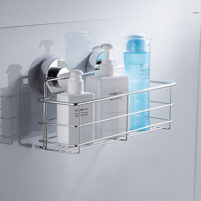 Bath Shower Caddy Suction Tidy Basket Storage Shelf Non Rust Stainless Steel