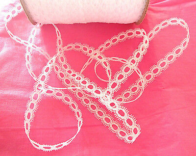 10 metres x 14mm wide of white  eyelet/insertion lace