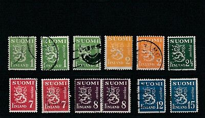 Finland - 1930 -  Assorted Definitives - Used Stamps