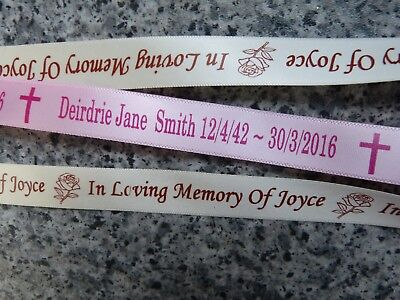 Personalised Ribbon For Funeral Flowers 15Mm Wide Memorial Rememberance