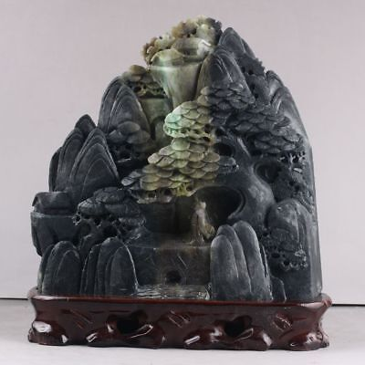 Exquisite 100% Natural DUSHAN Jade Hand Carved tree & Man Statue xd132