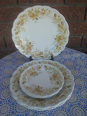 Ridgway 4 Dinner Plates & 2 Salad Plates Antique Rose Staffordshire