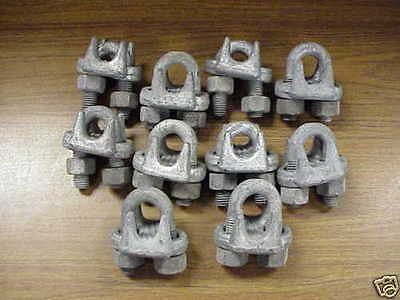 "Wire Rope Cable Clamps 5/8"" Zinc Coated Set of 10 New"