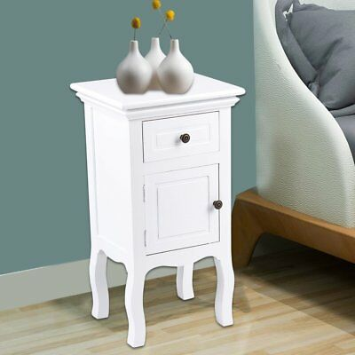 2 X White Wood Bedside Table Drawer Cupboard Cabinet Nightstand Bed Bathroom