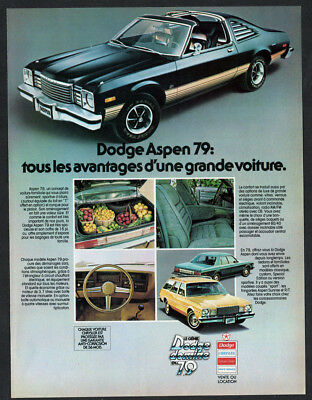 1979 DODGE Aspen Vintage Original Print AD - Black car photo coupe 2-door canada