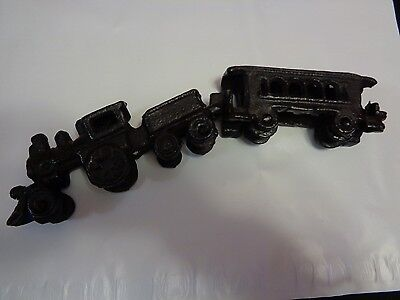 Early 1900's Cast Iron Toy Train -  Engine with Tender and Passenger Car