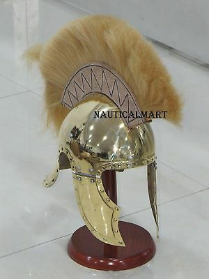 Brass Greco-Roman Armor Helmet with Leather Plume Authentic Replica costume JYUH