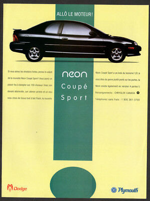 1995 DODGE PLYMOUTH Neon Coupe Sport Original Print AD - black car photo canada