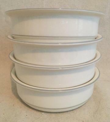 """4 Soup Cereal Bowls """"For The Grey"""" Pattern 6-1/4"""" Lenox Chinastone Made in USA"""