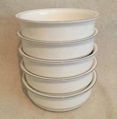 """5 Soup Cereal Bowls """"For The Grey"""" Pattern 6-1/4"""" Lenox Chinastone Made in USA"""