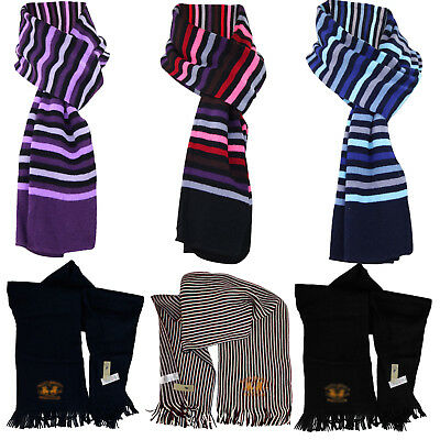 New Mens Womens Unisex Knitted Stripe Plain Winter Scarf Lightweight Neck Warmer