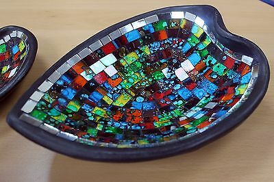 Moroccan Mosaic Heart Bowl Terracotta & Glass Table Centrepiece Dish 2 Sizes