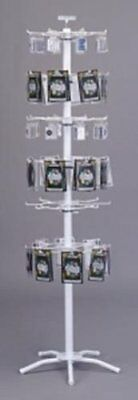 New White 48 Peg-6 Tier Floor Spinner for Key Chains, Patches, Stickers Display
