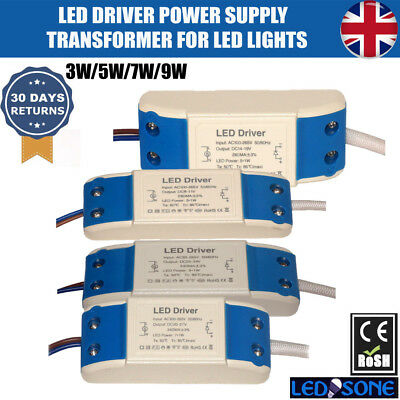 Constant Current LED Driver Power Supply Transformer 3/5/7/9W Premium Quality UK