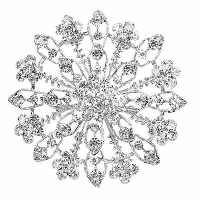 Precioso Broche Alfiler Diamantes Artificiales Forma Flores D2K6 Q7T8
