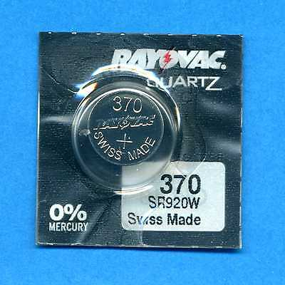 1 x 370 SR920W V370 D370 SR921 1.55V Silver Oxide Watch Cell Battery Rayovac