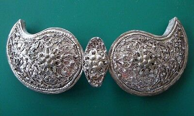 Antique Ottoman belt buckle jewelry hand-knitted silver filigree 19th century.