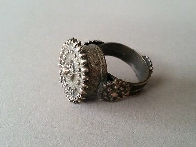 TOP PRICE!!! BULKY ANTIQUE AUTHENTIC Ottoman silver-copper alloy ring 19th C.:№5