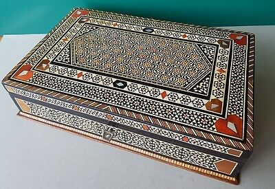 Antique AUTHENTIC Orient-Syrian Handmade Mosaic Inlay Wood BULKY Jewelry box
