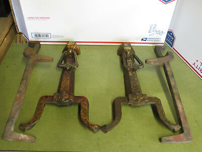 Vintage Brass Cast Iron Fireplace Andirons