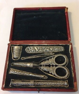 Fine Quality Antique Silver Sterling French or English Sewing Kit Set Case