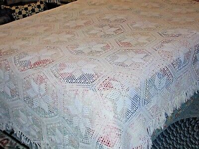 "Antique Crochet Bedspread  83""X 95"" Excellent, 5-Pt Star Clean and Ready to Use"