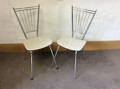 Retro vintage 2 chairs Formica and Chrome 1950s 1960s 1970s