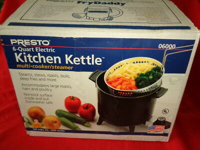 Presto 6 QT Electric Kitchen Kettle Multi Cooker / Steamer (06000)