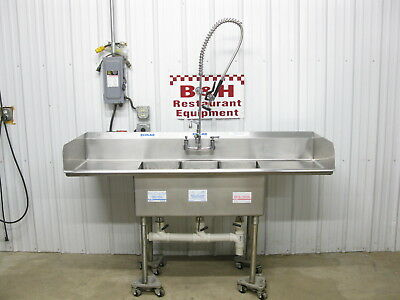 "72"" x 24"" Stainless Steel Heavy Duty 3 Bowl Three Compartment Sink 6' x 2'"