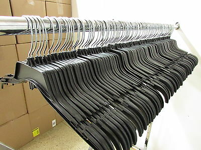 """Lot of 120 Black Plastic Adult Clothes Shirt Hangers 17"""" wide **FREE SHIPPING**"""