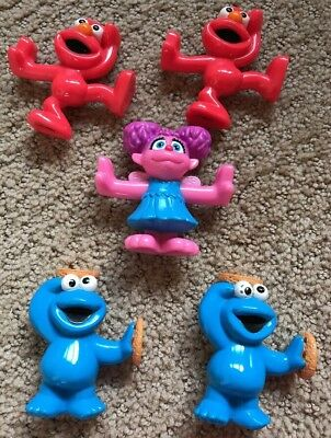 Sesame Street PVC Figures Cookie Monster Abby Cadabby Elmo Cake Toppers Lot Of 5